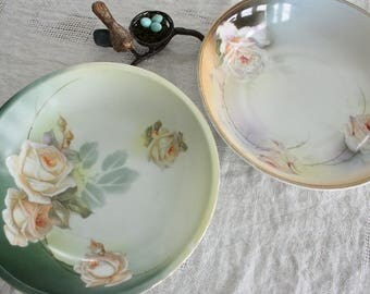 2 Antique Serving Bowls with Hand Painted Roses