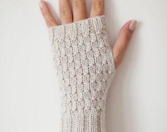 Handmade Chic Gloves, Fingerless Gloves,  Wristwarmers, Handwarmers  Mittens - Wool Blend -  in LINEN color and HONEYCOMB design