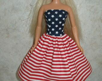 "Handmade 11.5"" fashion doll dress - red, white and blue  print"
