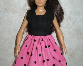 Handmade clothes for doll such as Lammily- pink and black polka dot dress