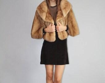 En vente 35 % de rabais - vintage des années 1950 or brun vison volé Cape manteau - étole de vison des années 50 Vintage - Capes de fourrure de vison Vintage - W00135