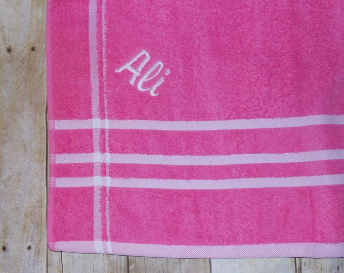 Embroider childs beach towel - Kid personalized towel -  hot pink towel - gray monogrammed beach towel - Birthday party favor - swim party