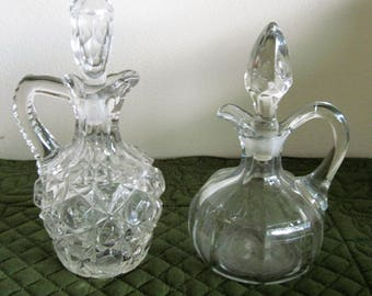 2 Antique Vintage 1900's Hand Blown Crystal Clear Glass Cruets With Stoppers