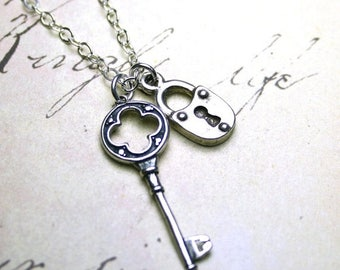 ON SALE Lock And Key Necklace - Sterling Silver Key And Lock Pendant - Swarovski Crystal - The Celtic Key and Lock Necklace