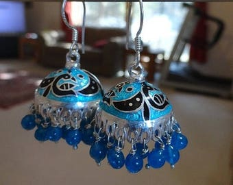 ON SALE jaipur Jhumkas - Meenakari with Blue beads -J7