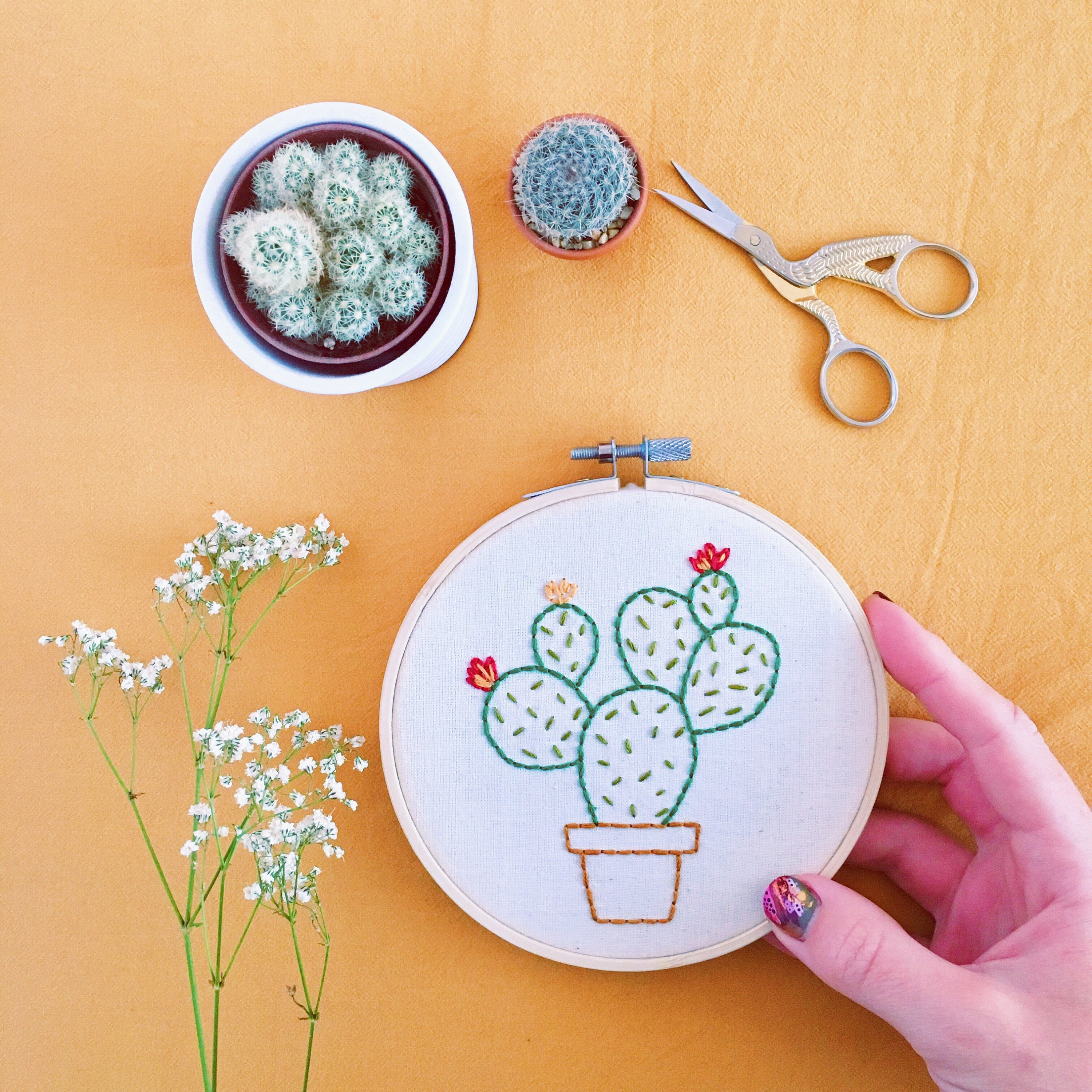 Prickly pear cactus hand embroideredery wall hoop