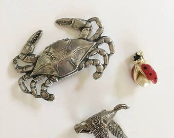 AWAY SALE 20% off vintage novelty brooch lot - CRAB Ladybug & Duck Lot of three pins