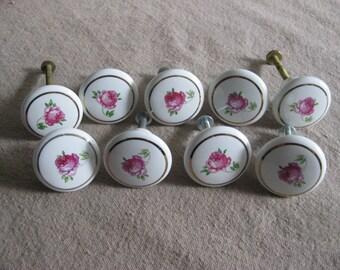 Vintage Porcelain Drawer Knobs / Drawer Pulls / Set of 9
