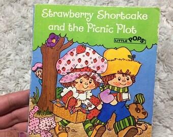 SUMMER SALE Strawberry Shortcake and the Picnic Plot Little Pops Pop Up Book Vintage HTF 80s Kids Books