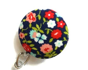 Floral Badge Reel Retractable Badge Reel Id Badge Holder Name Badge Holder Swivel Badge Clip Nurse Id Holder Teacher Gift Navy
