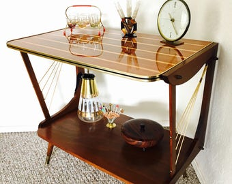 Dry Bar Mid Century Serving Cart Side Table End Table Record Player Stand Vintage