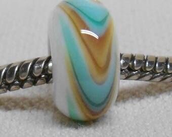 Handmade Glass Lampwork European Charm Bracelet Bead Large Hole Bead White with Beige and Blue/Green Swirl