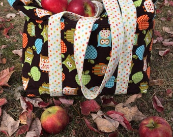 Large tote / teacher bag/ craft bag / diaper bag /  travel tote / toy bag / shopping bag / book bag / sewing bag / Owls / Apples / Polka dot