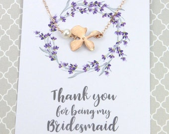 3 Day SALE Rose Gold Orchid Flower Pearl Necklace, Bridesmaids Necklace Gift, Available Gold or Silver, Bridal Party Gift, Wedding Jewelry