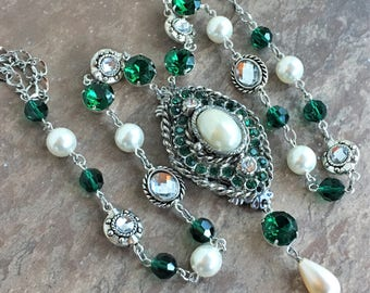 Long Emerald, Pearl and Silver Repurposed Pendant Necklace
