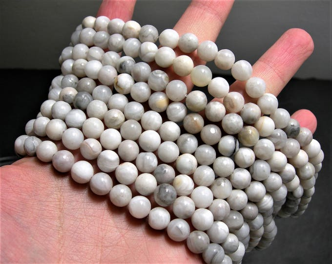 White lace agate - 8 mm round - 1 full strand - 47 beads - RFG1115