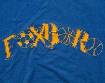 Foxboro Sports T-Shirt, Spell Out Sportswear, Vintage 80s-90s, Screen Stars Best, Sports Graphic Tee, Basketball, Baseball, Soccer, Fox