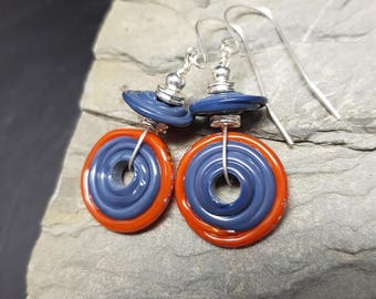 Quirky Lampwork and Sterling Silver Earrings - Burnt Orange and steel blue