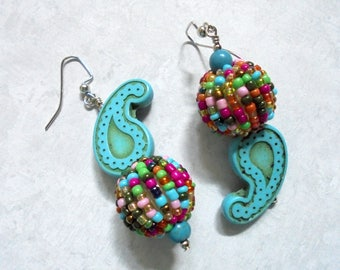 Turquoise, Pink, Green, Orange and Brown Paisley Boho Earrings (3683)