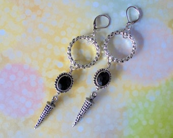 Silver and Black Boho Spike Earrings (3939)