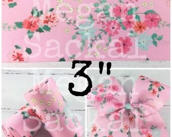 """3yd- 3"""" Ribbon, Floral Print Ribbon, Cheer Bow Ribbon, Light Pink Floral"""