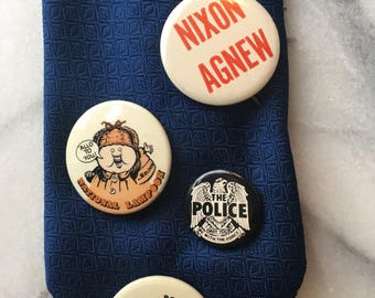 Vintage 70s Political Button Nixon/Agnew Plus National Lampoon