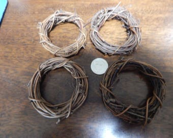 """Grapevine wreaths, set of four, approximately 3-3 1/2"""" diameter"""