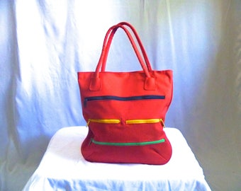 Vintage 90's Color-Block Solid Color Red Purse with Multi-Colored Zippers