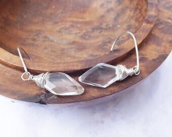 Crystal clear quartz earrings, wirewrapped earrings, sterling silver, for the bride, bridalware, for women, simple earrings,