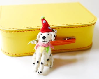 Large Yellow Paper Suitcase with Felted Animal
