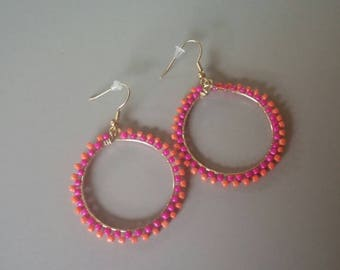 Funky Handmade Beaded Hoop Earrings, Colorful Hoop Dangles, Custom Made Earrings, Fun and Bright Hoops, Jewelry Gifts for Her