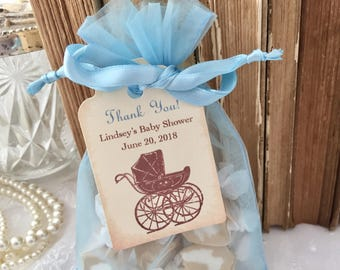 Boy Shower Favors Set Baby Carriage Organza Bags, Personalized Tags Set of 10