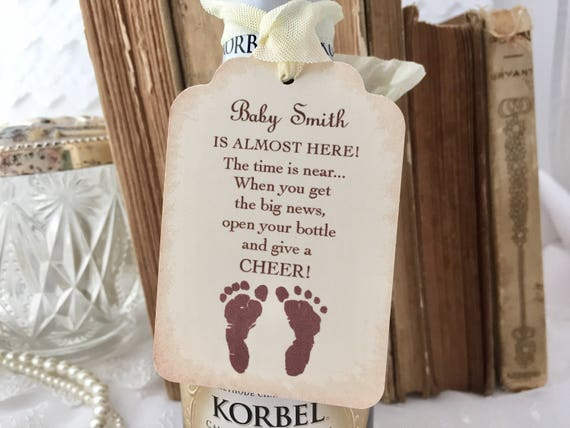 Baby Shower Champagne Tags Baby Mini Wine Bottle Tags Set Of