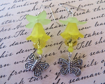 Yellow Lucite Flowers And Silver Butterflies Dangling Earrings
