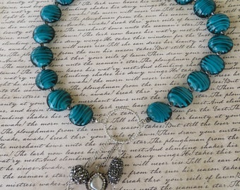 Teal Swirled Glass Beaded Necklace With Rhinestone And Pearl Accented Silver Toned Pendant