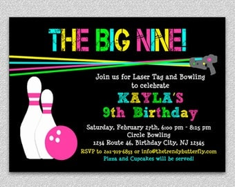 Laser Tag Bowling Birthday Invitation, Bowling Birthday Party, Invitation, Laser Tag,  Party, Printable Invitation, Printed Invitation