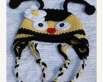 Crochet Bumble Bee Earflap Hat