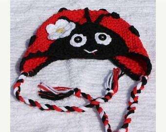 Crochet Little Ladybug Earflap Hat