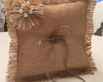 Rustic Burlap Ring Bearer Pillow-Wedding Pillow-