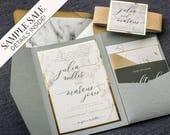 "Gold Marble Wedding, Grey and Gold Wedding, Gold Foil Wedding Invite, Gold Glitter and Marble, Neutral Color -""Modern Elegance"" PF-1L SAMPLE"