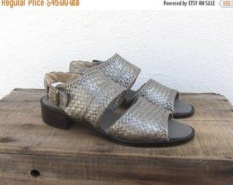 SALE 90s Braided Leather Sandals Modern Minimal Chunky Heel Gun Metal Silver Leather Ladies Size 6.5