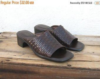 SALE SALE Vintage Wove Brown Leather Slip On Mules Ladies Size 8
