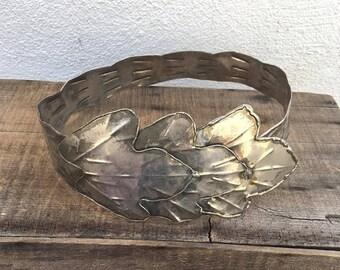 """20% Off Sale 70s 80s Modernist Large Hammered Metal Leaf Belt Brutalist Silver Gold Mixed Metal Statement Belt Size 26-33"""""""