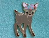 Flower Deer Hard Enamel Pin