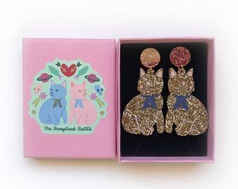 Large Size Glittery Kitty Dangle Stud Earrings - Gold Glitter