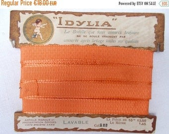 """SALE 10% OFF Antique French Ribbon on Original Card  """"IDYLIA""""  with Fabulous Graphics. Tangerine.  13.5mm wide    (1290b)"""