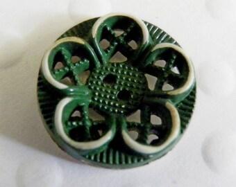 Vintage Buffed Celluloid Button Green Flower Openwork