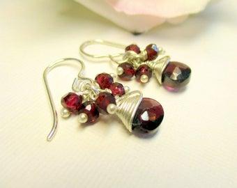 Garnet Earrings, Garnet Cluster Earrings, Long Earrings, Dangle Earrings, January Birthstone, Gemstone Earrings