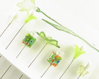 Decorative Sewing Pins Green Leaf with Milefiore and Butterflies