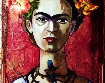 Frida Kalo Original Painting Mixed media 12x16 mexican folk art